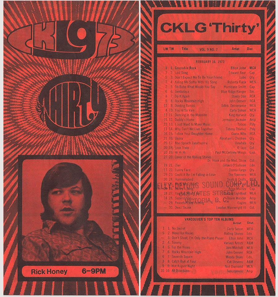 CKLG Top 30 for February 16 1973