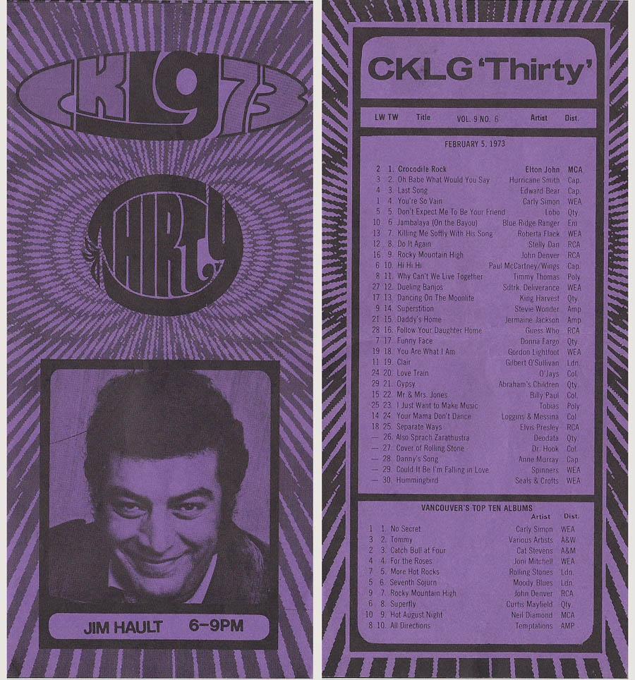 CKLG Top 30 for February 5 1973