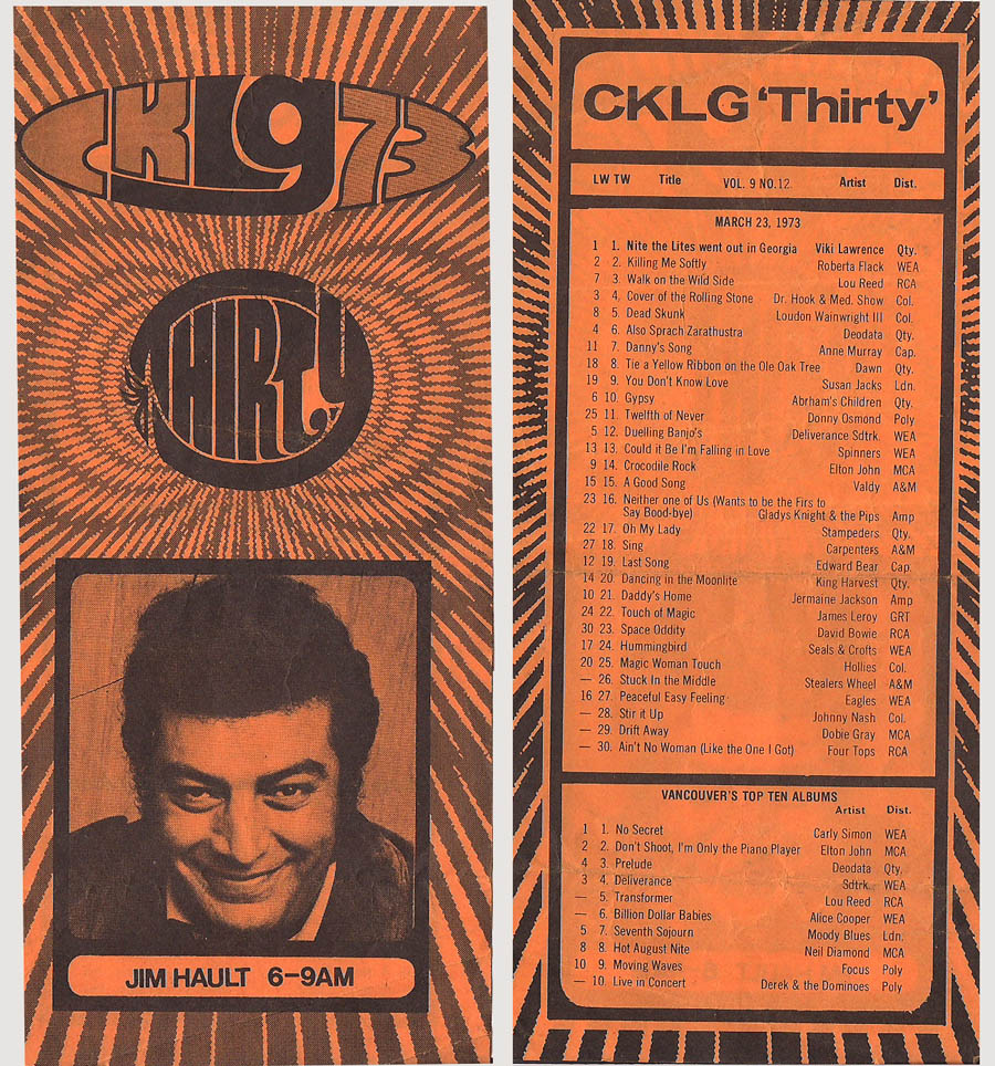 CKLG Top 30 for March 23 1973